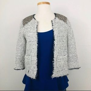 Willow & Clay White Gray Boucle & Sequin Jacket